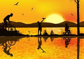 Vettore libero di tramonto di Bicicleta