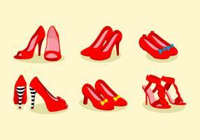Vettore di pantofole rosso rubino