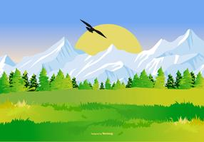 Bella illustrazione paesaggio di montagna