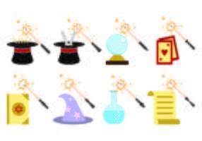 Set di Magic Stick Icon vettore