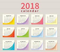 Illustrazione del calendario stampabile gratis vettore