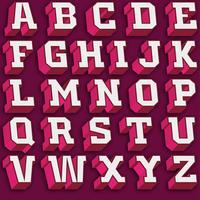 Vettore Retro carattere 3d rosa e bianco