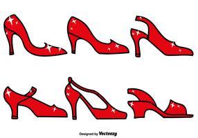 Insieme dell'icona delle pantofole vermiglie - vettore