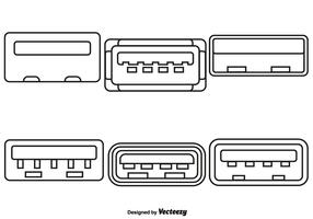 Insieme di vettore delle icone di stile della linea della porta USB