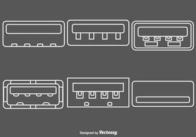 Insieme vettoriale di icone di linea porta USB