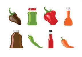 Icone di vettore di salsa e peperoncino