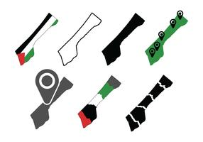 Gaza mappa imposta icone vettore