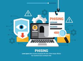 Phishing tramite l'illustrazione di Internet vettore