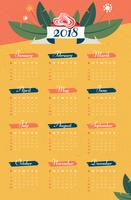 Vettore floreale del calendario 2018