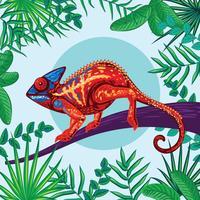 Colori dell'arcobaleno di fantasia del camaleonte con fondo tropicale della giungla
