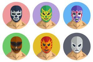 Insieme di vettore del ritratto del lottatore messicano