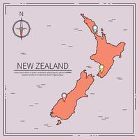 Linea illustrazione della mappa della Nuova Zelanda vettore