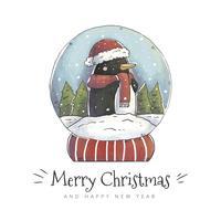 Pinguino sveglio dentro la palla di neve con la scena di inverno