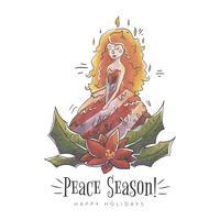 Donna carina candela con foglie di Natale vettore