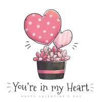 Vaso di fiori carino con fiori, foglie e cuore Globe per San Valentino vettore