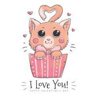 Simpatico personaggio di gatto all'interno di una confezione regalo per il giorno di San Valentino