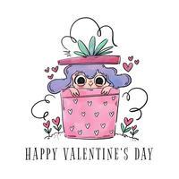 Cute Girl Inside A Gift To Be Used Nel giorno di San Valentino