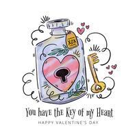 Vaso carino con cuore all'interno e chiave per il giorno di San Valentino vettore