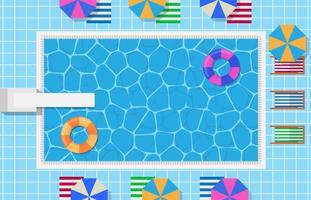 Piscina con anello gonfiabile di nuotata nella forma della ciambella e trampolino per l'illustrazione di salto vettore