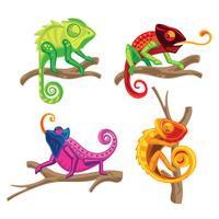 Set di Chameleon Lizard in piedi su una pianta