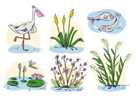 illustrazione disegnata a mano di vettore della palude