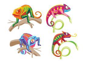 Set di Chameleon Lizard in piedi su una pianta vettore