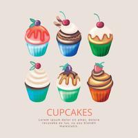 Cupcakes disegnati a mano di vettore