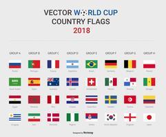 Vettore 2018 delle bandiere di paese della fase del gruppo di calcio della coppa del Mondo