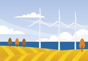 Illustrazione di turbine eoliche vettore