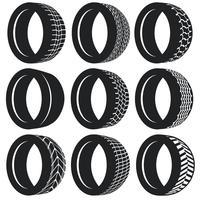 Set di pneumatici pneumatici piatto vettoriale