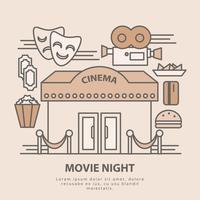Illustrazione di notte di film vettoriale