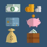 Raccolta di elementi vettoriali campione di denaro