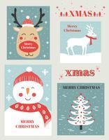 Insieme di vettore delle cartoline di Natale