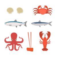 Vettori di frutti di mare piatti