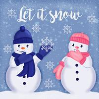 Illustrazione disegnata a mano dei pupazzi di neve di vettore