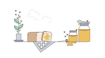 vettore di pane tostato e miele
