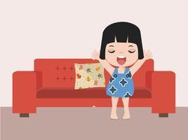 ragazza svegliarsi su un divano rosso vettore