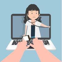 medico che fornisce assistenza medica tramite un laptop vettore