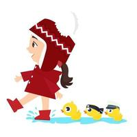 ragazza che conduce le anatre bambino attraverso una pozzanghera d'acqua vettore