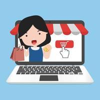 ragazza che va a fare shopping online in un laptop vettore