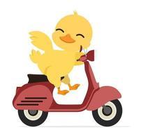 simpatica anatra gialla in sella a uno scooter rosso vettore