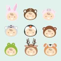 collezione di neonati che indossano costumi di animali vettore