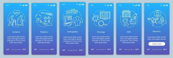 schermata della pagina dell'app mobile di onboarding del centro medico vettore