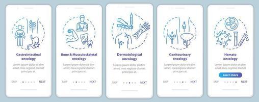 schermata della pagina dell'app mobile di oncologia onboarding