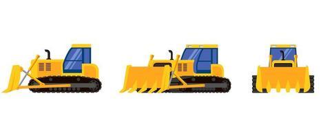 bulldozer in diverse angolazioni vettore