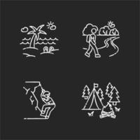 set di icone bianche di gesso di ricreazione all'aperto