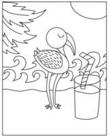 pagina da colorare con uccello fenicottero in stile doodle vettore