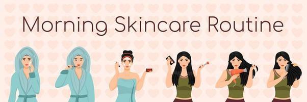 routine di cura della pelle mattina donna vettore