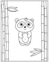 pagina da colorare con panda in stile doodle vettore