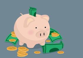 salvadanaio e un sacco di contanti e monete vettore